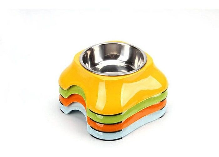 11 * 14.8 * 5cm Plastic Pet Bowls A5 Melamine With Skidproof QS Approved MJ001