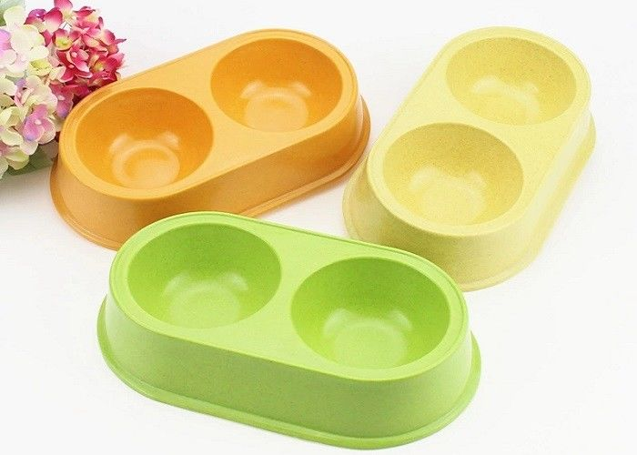 Anti Slip Double Plastic Pet Bowls Bamboo Fiber Middle Size With Custom Color