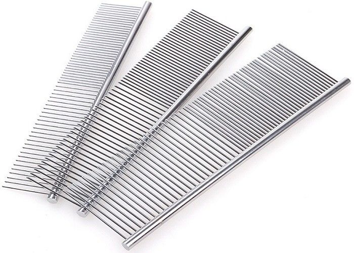 3 Size Single Side Stainless Steel Dog Comb , 2 Size Teeth Dog Grooming Brush