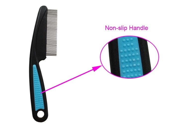 ABS Non Slip TPR Handle Pet Flea Comb Multi color With Stainless Steel Teeth