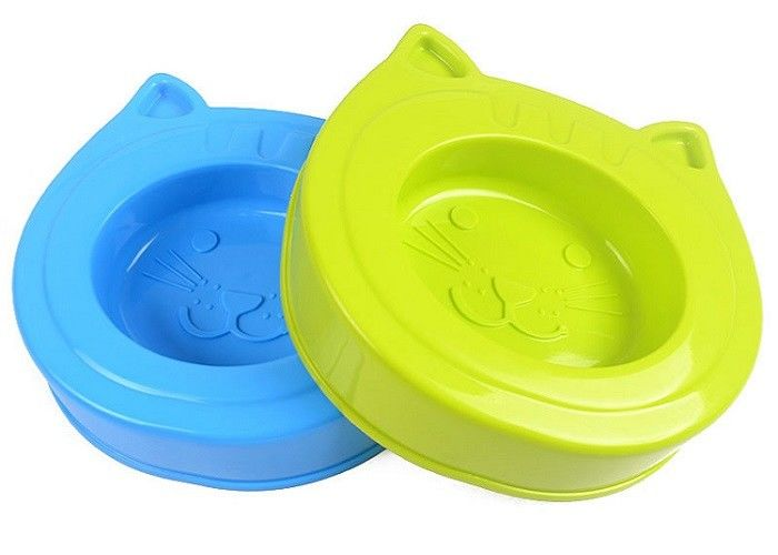 Bule Green Plastic Pet Products ABS Cat Head Cute Shape Bowls 24 * 23 * 5.5cm